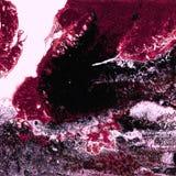 Peinture acrylique liquide, illustration liquide, fond coloré abstrait avec les cellules peintes colorées, taches Couleurs rouges Images libres de droits