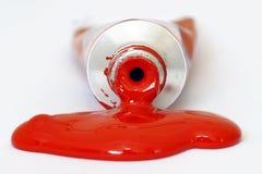 Peinture acrylique rouge Images libres de droits