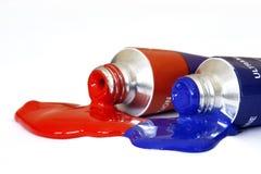 Peinture acrylique rouge et bleue Images stock