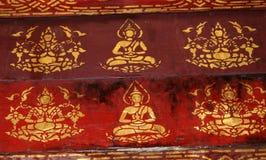 Peinture au temple au Laos Image stock