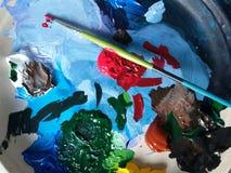 Peinture avec des couleurs photo libre de droits