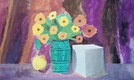 Peinture avec des ombres faites par une 5ème niveleuse - original Photographie stock libre de droits