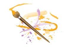 Peinture avec la brosse mince dans orange et pourpre illustration libre de droits