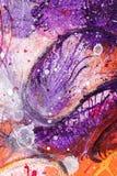 Peinture avec la gouache et l'encre violette photo libre de droits