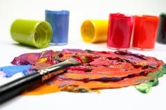 Peinture avec le balai Photographie stock