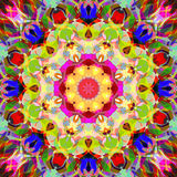 Peinture belle Mandala Background florale colorée abstraite de Digital Photographie stock