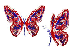 Peinture blanche de rouge bleu faite ensemble de papillon Photos libres de droits