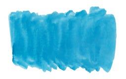 Peinture bleue d'éclaboussure d'aquarelle d'aquarell de texture de brosse de fond abstrait d'encre sur le fond blanc Photos libres de droits