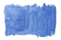 Peinture bleue d'éclaboussure d'aquarelle d'aquarell de texture de brosse de fond abstrait d'encre sur le fond blanc Photographie stock