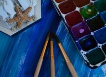 Peinture bleue peinte la mer Photographie stock