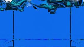 Peinture bleue transparente animée versant et remplissant vers le haut de l'écran entier Le canal alpha est matte incluse de luma illustration de vecteur
