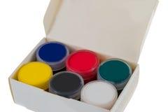 Peinture, boîte, couleurs lumineuses Photographie stock libre de droits