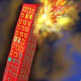 Peinture brûlante de bâtiment photographie stock