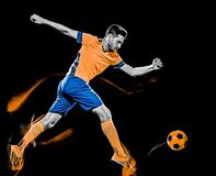 Peinture caucasienne de lumière de fond de noir d'homme de footballeur image stock