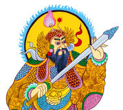Peinture chinoise de guerrier de tradition sur le mur Photographie stock libre de droits