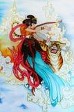 Peinture chinoise de tradition sur le mur Photographie stock libre de droits