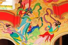 Peinture chinoise de tradition sur le temple chinois Image libre de droits