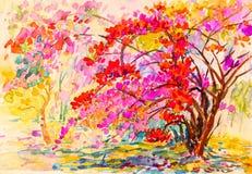 Peinture coloré de la fleur de papier dans le jardin et l'émotion illustration de vecteur