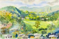 Peinture coloré de la montagne et de l'émotion à l'arrière-plan bleu illustration de vecteur