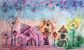 Peinture colorée d'aquarelle de ville de conte de fées d'imagination Main DR Image libre de droits