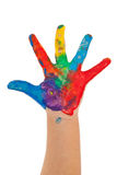 Peinture colorée sur la main d'enfant Images libres de droits