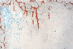 Peinture criquée et plâtre de vieil épluchage blanc bleu Image libre de droits