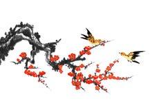 Peinture décorative de peinture de fleur et d'oiseau de prune illustration de vecteur