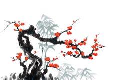 Peinture décorative en bambou de peinture de fleur et d'oiseau illustration libre de droits