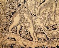 Peinture d'éléphant d'or Photo libre de droits