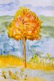 Peinture d'aquarelle d'Autumn Tree illustration libre de droits