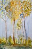 Peinture d'aquarelle d'Autumn Tree illustration de vecteur