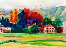 Peinture d'aquarelle - campagne illustration stock