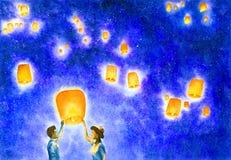 Peinture d'aquarelle - couplez sous le ciel nocturne étoilé illustration libre de droits