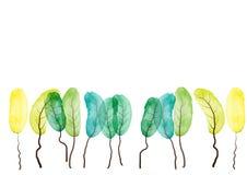 Peinture d'aquarelle d'arbres sur le fond blanc, résumé, illustration de vecteur Photographie stock libre de droits