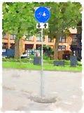 Peinture d'aquarelle d'un itinéraire néerlandais d'apparence de panneau routier pour la pédale Image libre de droits
