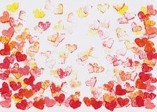 Peinture d'aquarelle de coeurs de vol Images libres de droits