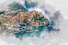 Peinture d'aquarelle de Digital de Manarola l'Italie illustration stock
