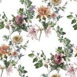 Peinture d'aquarelle de feuille et de fleurs, modèle sans couture Photo stock