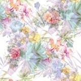Peinture d'aquarelle de feuille et de fleurs, sans couture Photo stock