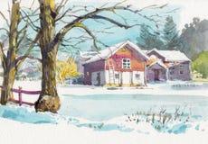 Peinture d'aquarelle de maison de cottage sur le c?t? de pays illustration libre de droits