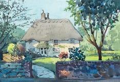 Peinture d'aquarelle de maison de cottage sur le c?t? de pays illustration de vecteur
