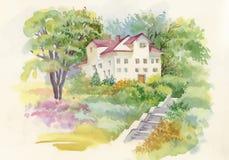Peinture d'aquarelle de maison dans l'illustration en bois Photographie stock libre de droits