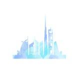 Peinture d'aquarelle de paysage urbain de Dubaï Photographie stock libre de droits