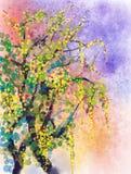 Peinture d'aquarelle de saison de nature de ressort illustration de vecteur