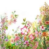 Peinture d'aquarelle des feuilles et de la fleur illustration de vecteur