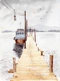 Peinture d'aquarelle et d'encre illustration stock