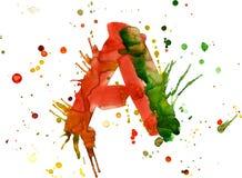 Peinture d'aquarelle - marquez avec des lettres A illustration libre de droits