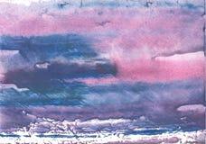 Peinture d'aquarelle striée par bleu rose images libres de droits