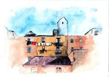 Peinture d'architecture d'aquarelle, croquis urbain Dessin horizontal de ville européenne Renfermez l'illustration E Images stock