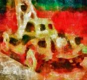 Peinture d'art de Digital - vieille voiture de jouet d'architecture illustration de vecteur